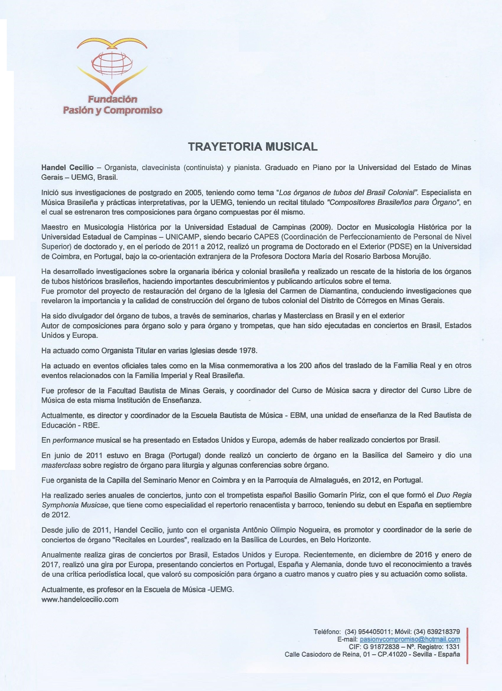 Trayetoria Musical de Dr Handel Cecilio - EVM España